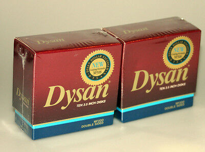 Dysan MF2DD Double Sided Diskettes PC Floppy Disks 10 Sealed New Pack Box Lot 2