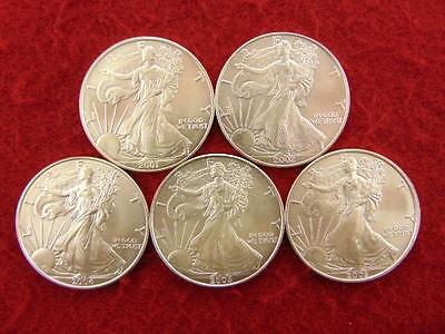 5 Lot Silver Eagles, 5 Fine Silver American Eagle Dollars, Mixed Date Eagles