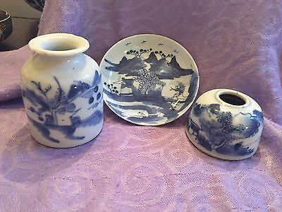 Three late Qing blue-and-white hand-decorated pottery pieces