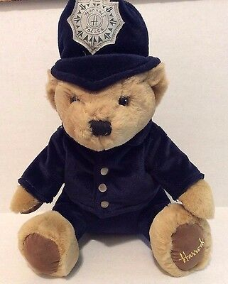 "Harrod's Bear Police Bobby Exclusive Knightsbirdge London 12"" Tall Brown Blue"