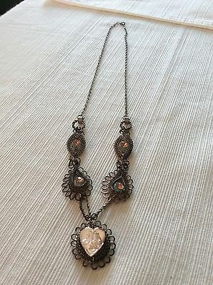RARE ART DECO 1920's  PEACH MARCASITE  with FLOWER NECKLACE. INCREDIBLE!
