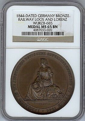 1844 German Bronze Medal ( Graded Ms65 By Ngc )