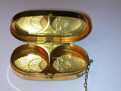EXQUISITE EARLY ART DECO HAMMERED GOLD DANCE COMPACT MARKED SHEFFIELD Must See!