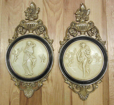 PAIR Vintage HOLLYWOOD REGENCY  Cherub Angel Putti SYROCO pictures wall hangings