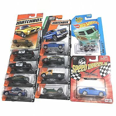 Lot of 11 Matchbox + Hot Wheels Cars Lot Diecast Mustang Charger Police Truck