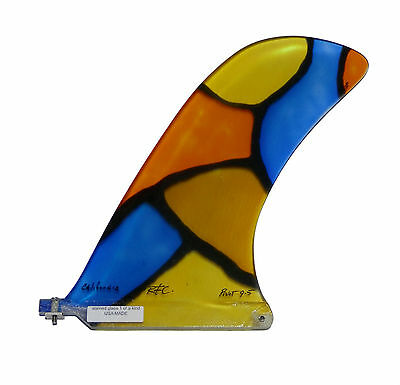 """9.5"""" RAINBOW PIVOT Longboard Fin, Stained Glass, Unique Fin, 1 of a Kind, *NEW*"""