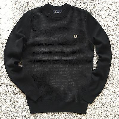 Fred Perry Men Polo Sweater Round Neck Black Long Sleeve  Cotton Regular S