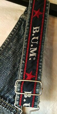 Vintage 90s Spell Out BUM Equipment Jeans Overall Shorts Red White Blue Medium