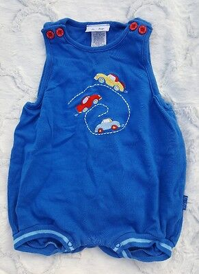 Le Top Infant Baby Boy 6 Months Romper One-Piece Outfit Blue Cars Embroidered