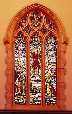 Vintage Stained Glass Church Window, Ascension of Christ, 1940's Perfect Cond!