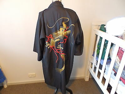 Vintage Silk Japanese Dressing Gown / Robe - Hand Embroidered Dragons With Gold