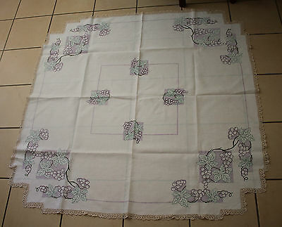 Vintage Linen Table Cloth Hand Embroidered With Grapes