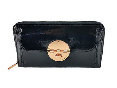 Mimco Black with rose gold hardware travel turnlock black leather wallet