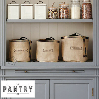 New PANTRY 3 Pce Set Natural Hessian Sacks Potato, Onion, Vegetable Storage Bags