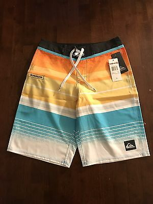 Quiksilver Boys Everyday Stripe Shocking Orange Swimwear Boardshorts Sz 28 NWT'S