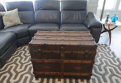 VICTORIAN Antique FLAT Top STEAMER TRUNK Coffee Table w/ Inserts Blanket Chest