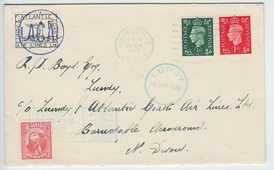 Lundy 1939 1D Black Lacal Air Lights & Leads First Day Cover Excellent Condition