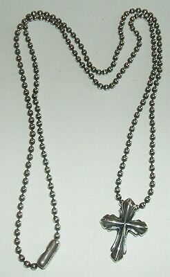"""BILL WALL sterling silver cross pendant & 20"""" ball chain necklace"""