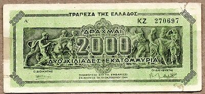 Greece VF Note 2000 Drachmas 1944 P-133