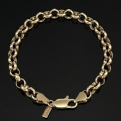 18K Yellow Gold GL Medium Solid Women's Belcher Bracelet with Parrot Clasp 18cm