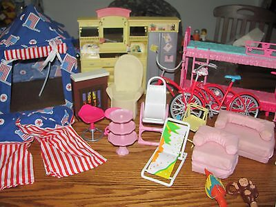 Lot Of Vintage Barbie Furniture~Tent~Sleeping Bags~Bicycles~Kitchen