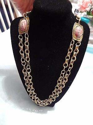 Vintage Gold Tone Metal  Necklace W/ Multi Color Cabs & Green Rhinestones # 595