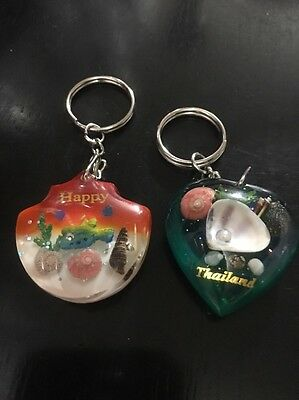 Happy & Thailand Phuket With Seashells Keychain Souvenir Green Orange Oh So Cute
