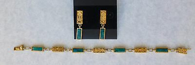 BEAUTIFUL PERUVIAN SET BRACELET & EARRINGS SOLID GOLD 18k. AND CHRYSOCOLLA