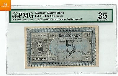 Norway Oscar 5 kroner 1896 RARE!!! Only three notes with this signature PMG35
