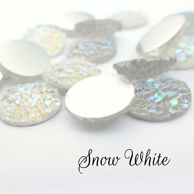 10 x Snow White AB Druzy 11.5 - 12mm Cabochon Perfect for Earrings