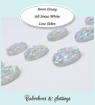 10 x Snow White AB Druzy 8mm Cabochon Perfect for Earrings