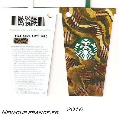 CARTE CADEAU-GIFT CARD-STARBUCKS-FRANCE-FR-n°6136- CUP- NEW 2016 !!