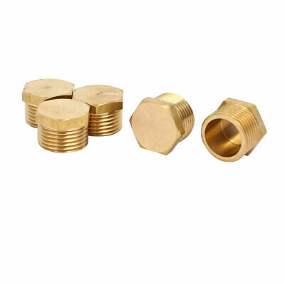 5 Pcs 3/8BSP Male Thread Brass Hex Head Pipe Plug Connector Fitting