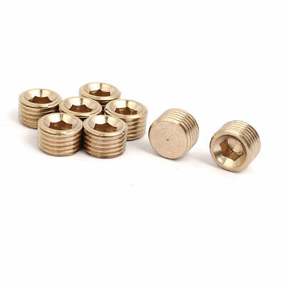 8 Pcs 1/4BSP Male Thread Brass Hex Soket Head Pipe Plug Connector Fitting
