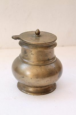 Old Hindu Traditional Holy Ritual Bell Metal Unique Shape Pot With Lid NH3342