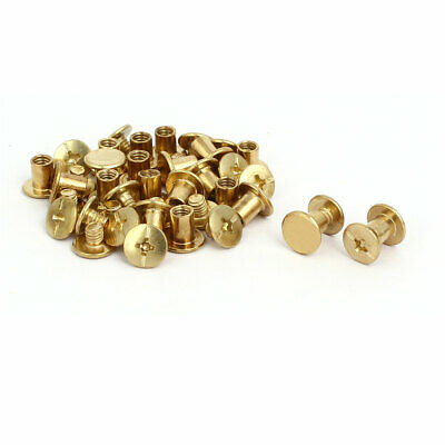 5mmx6mm Binding Chicago Screw Posts Nuts Docking Rivets Brass Tone 20pcs