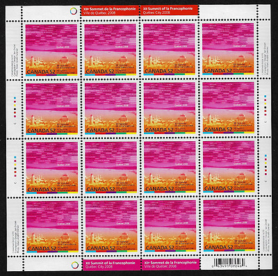 Canada Stamps — Full Pane of 16 — XII Summit of La Francophonie — #2290 — MNH