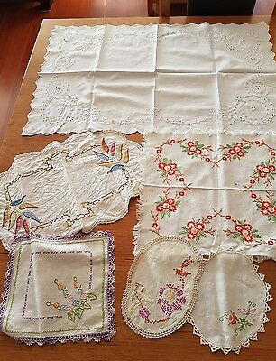 Vintage Hand Embroidered Mixed Set Of 6 Dollies