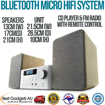 Bluetooth Micro HiFi System Stereo CD Player FM Radio Speakers Music MP3 Mini