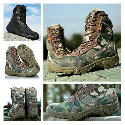 Tactical Military Ankle Boots Combat Army Hiking Desert Patrol Shoes Camouflage