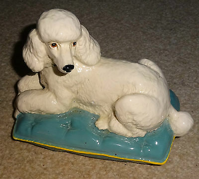 Rare Royal Doulton Poodle Dog Figurine Laid On Green Cushion Pillow Perfect