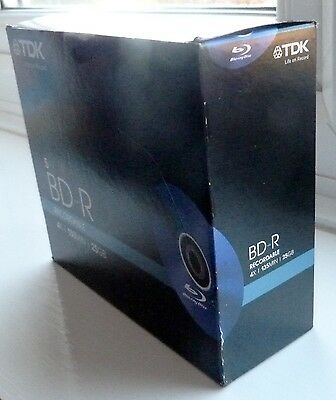 TDK BD-R Recordable 5 x 25GB. 135 min. Sealed. New. REAL BARGAIN !