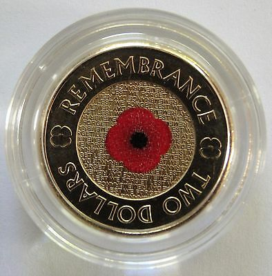 2012 $2 Coin Remembrance Red Poppy Unc In Capsule - Taken From Roll