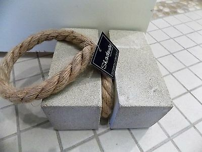 Square Cement Door Stop with Rope