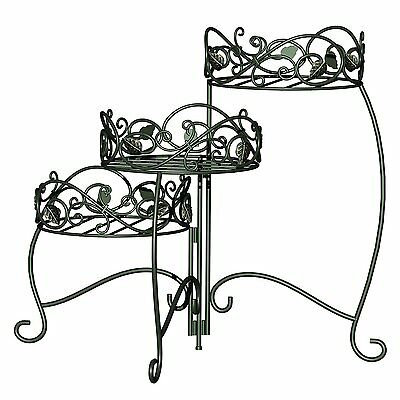 Panacea Products 3-Tiered Folding Scroll and Ivy Plant Stand Black with Brushed