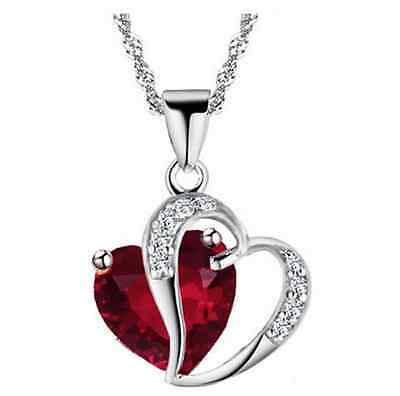Fashion Heart Crystal Rhinestone Silver Chain Pendant Necklace Jewerly [red]