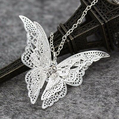 NEW Butterfly Pendant Charm Silver Plated Necklace Chain Fashion Jewelry Gift
