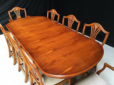 Stuning Burr Yew Tree Grand Regency Style Dining Set Pro French Polished