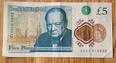 *VERY RARE* Ultra Low Serial Number AA01 010932 New £5 Polymer Note