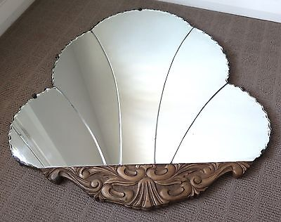 Fabulous Vintage ART DECO Large Fan Shaped Wall Mirror 1940's